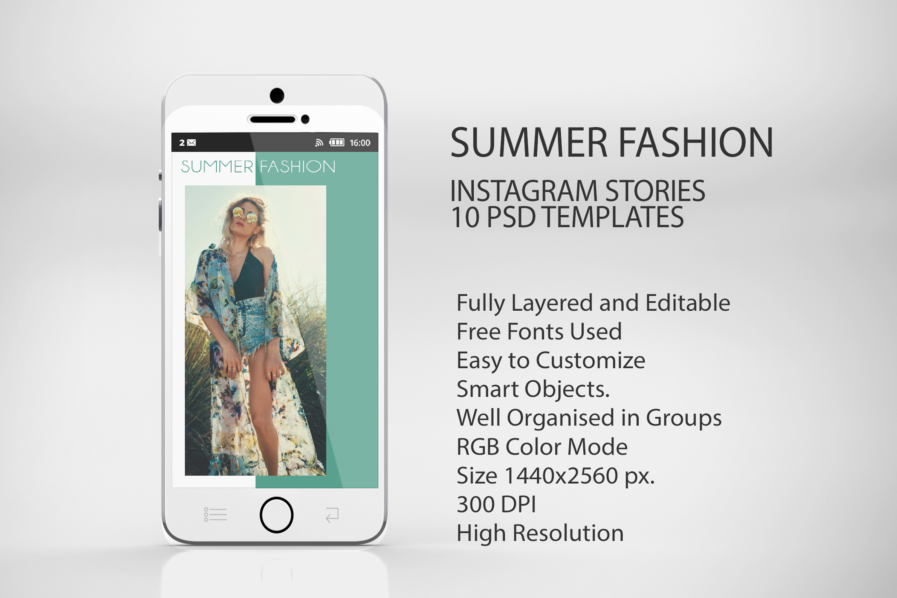 10 Summer Fashion Sales Insta-Story PSD Templates example image 5
