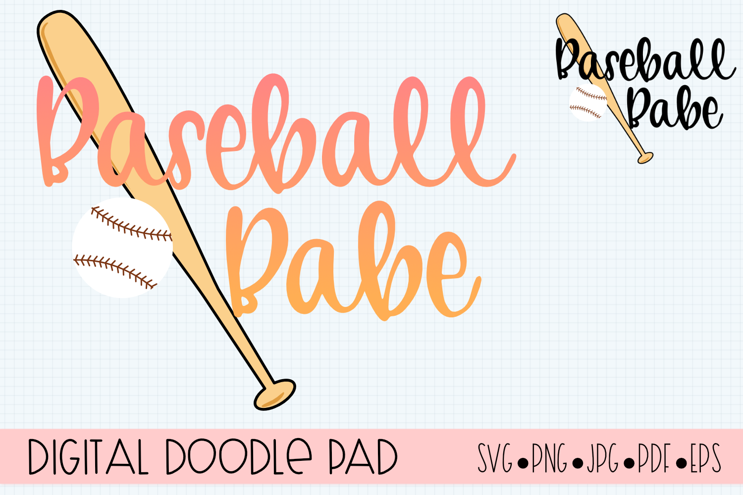 Baseball Babe SVG |Silhouette and Cricut Cut Files example image 2