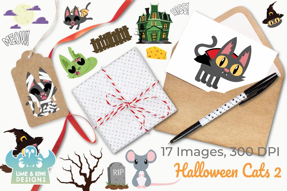 Halloween Cats 2 Clipart, Instant Download Vector Art example image 4