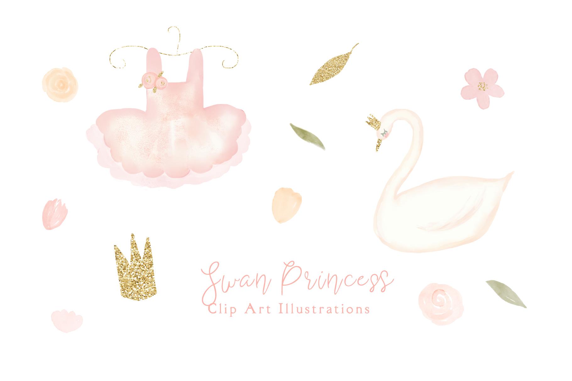Swan Princess Watercolor Clipart example image 1
