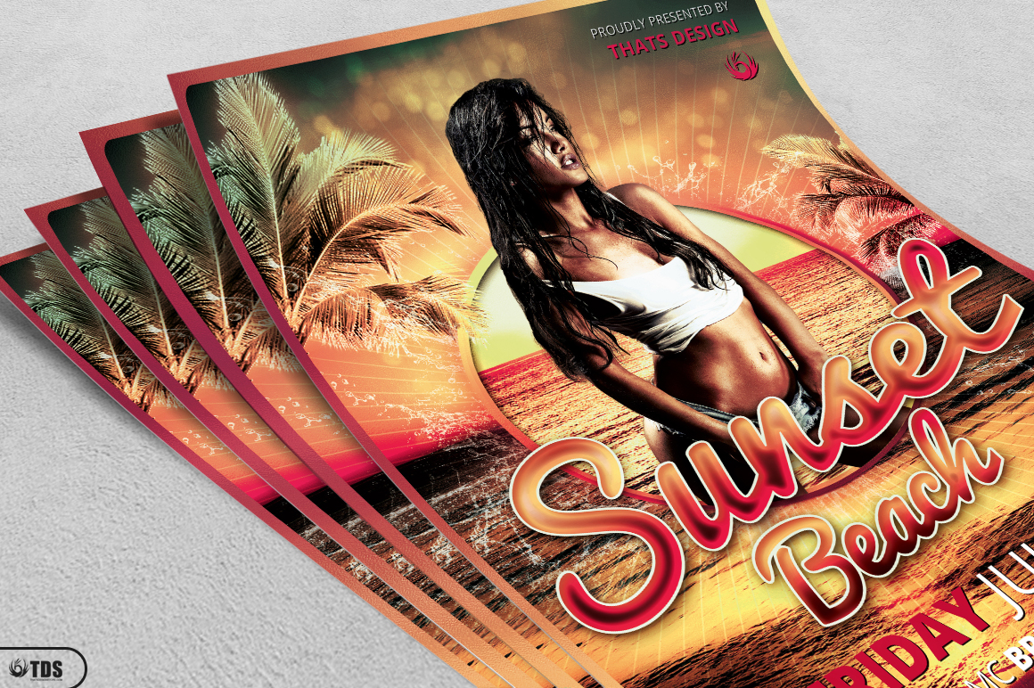 Beach Party Flyer Template V3 example image 3
