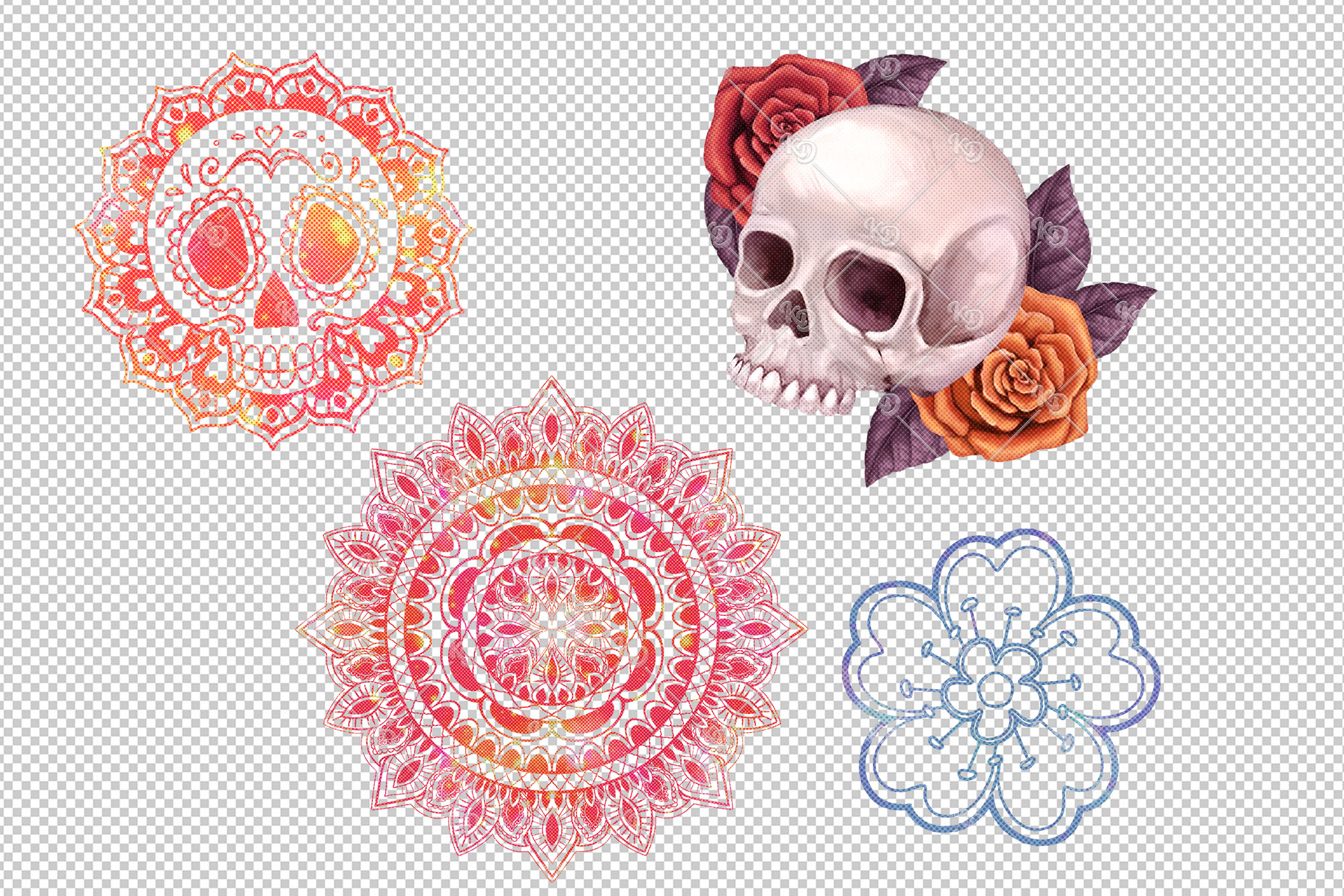 Sugar Skull Clipart, Mexican Lace Clipart, Day of the Dead example image 4