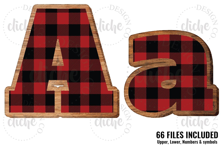 Buffalo Plaid Wooden Alphabet Sublimation Set example image 1