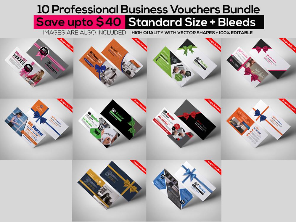 10 Business Vouchers Templates Bundle example image 1