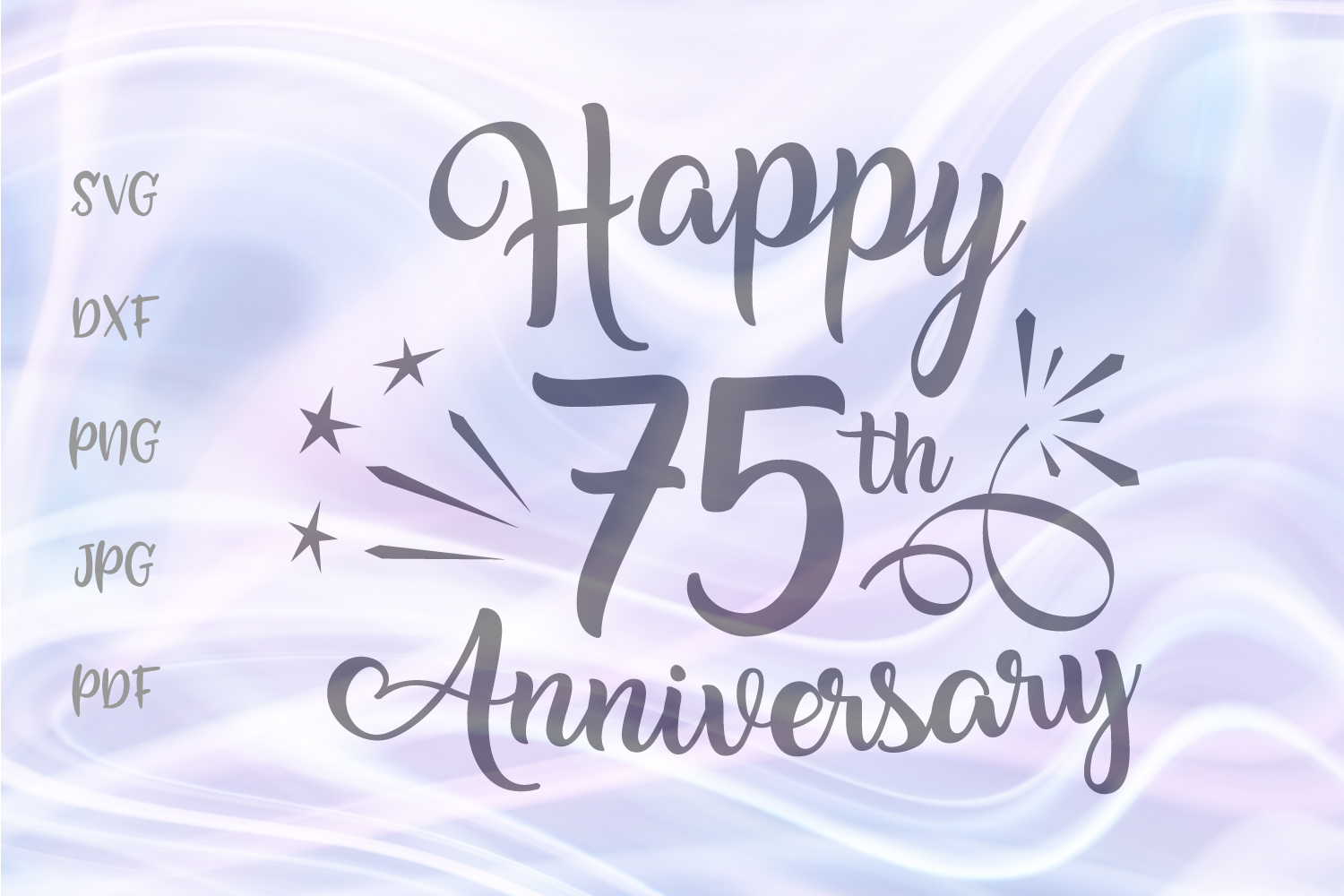 Happy 75th Anniversary Seventy Five Year Diamond Wed Sign example image 1