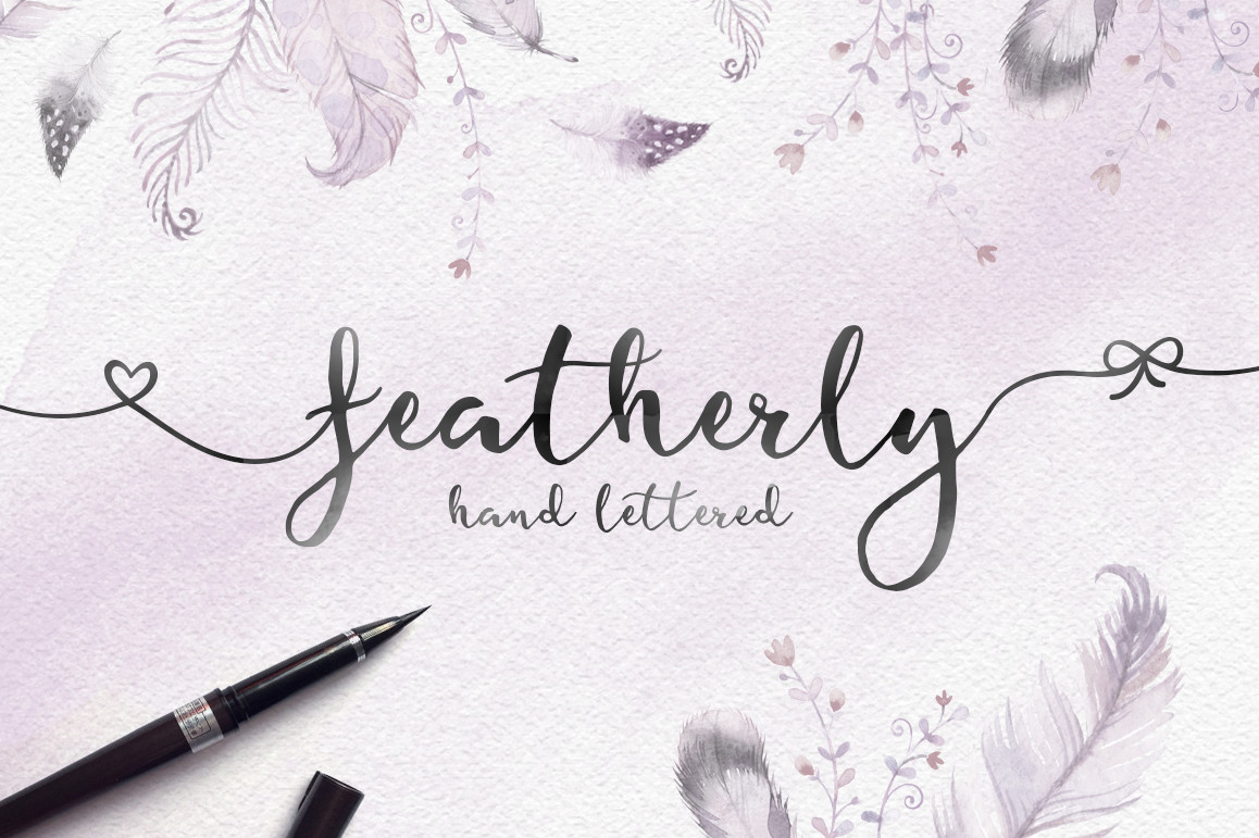 Featherly hand lettered example image 1