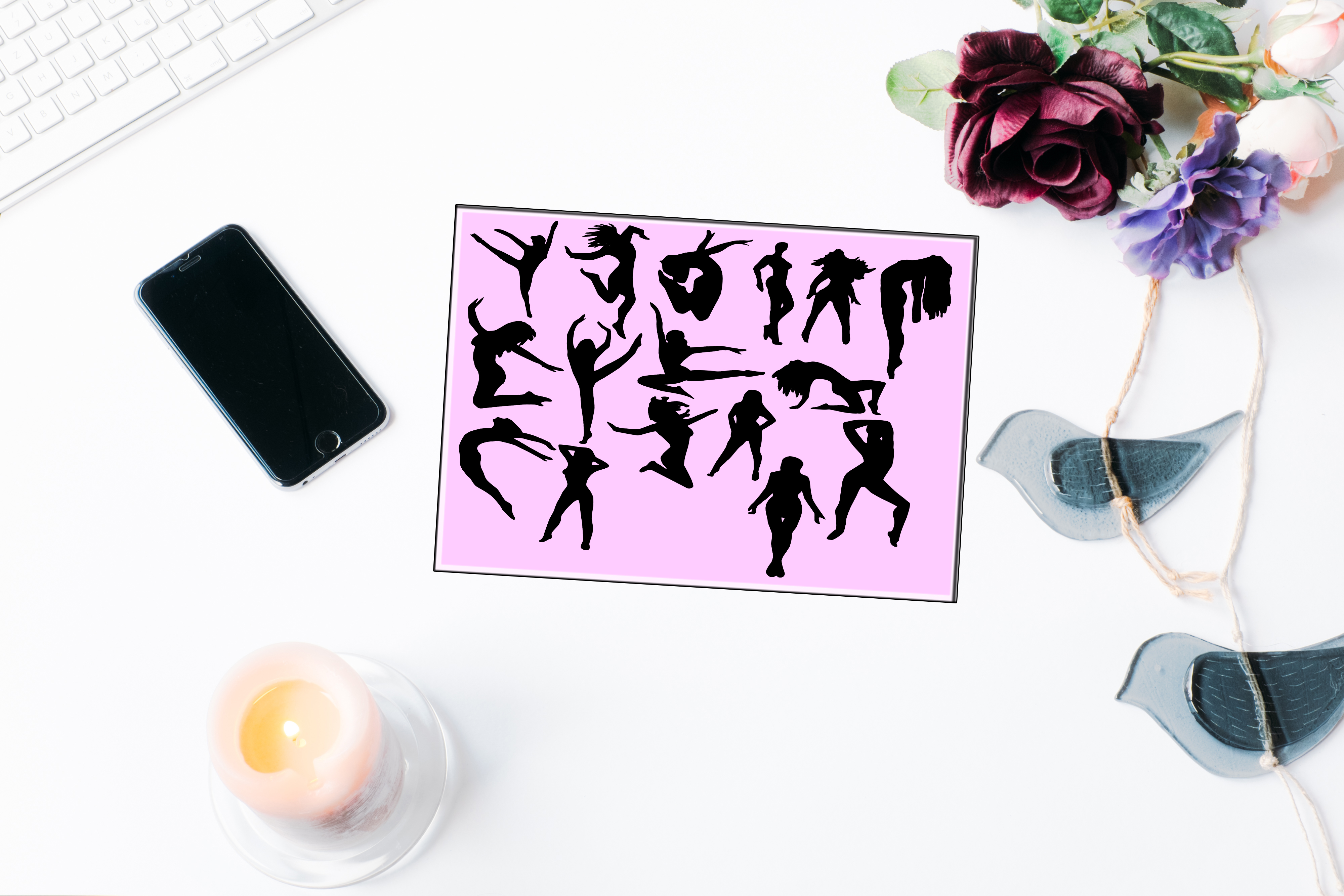 Set of 46 people silhouettes example image 2