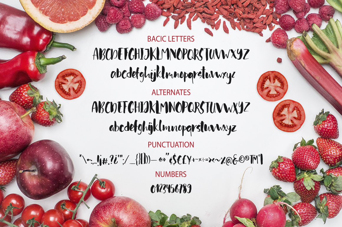 Red tomato. Script font. example image 4