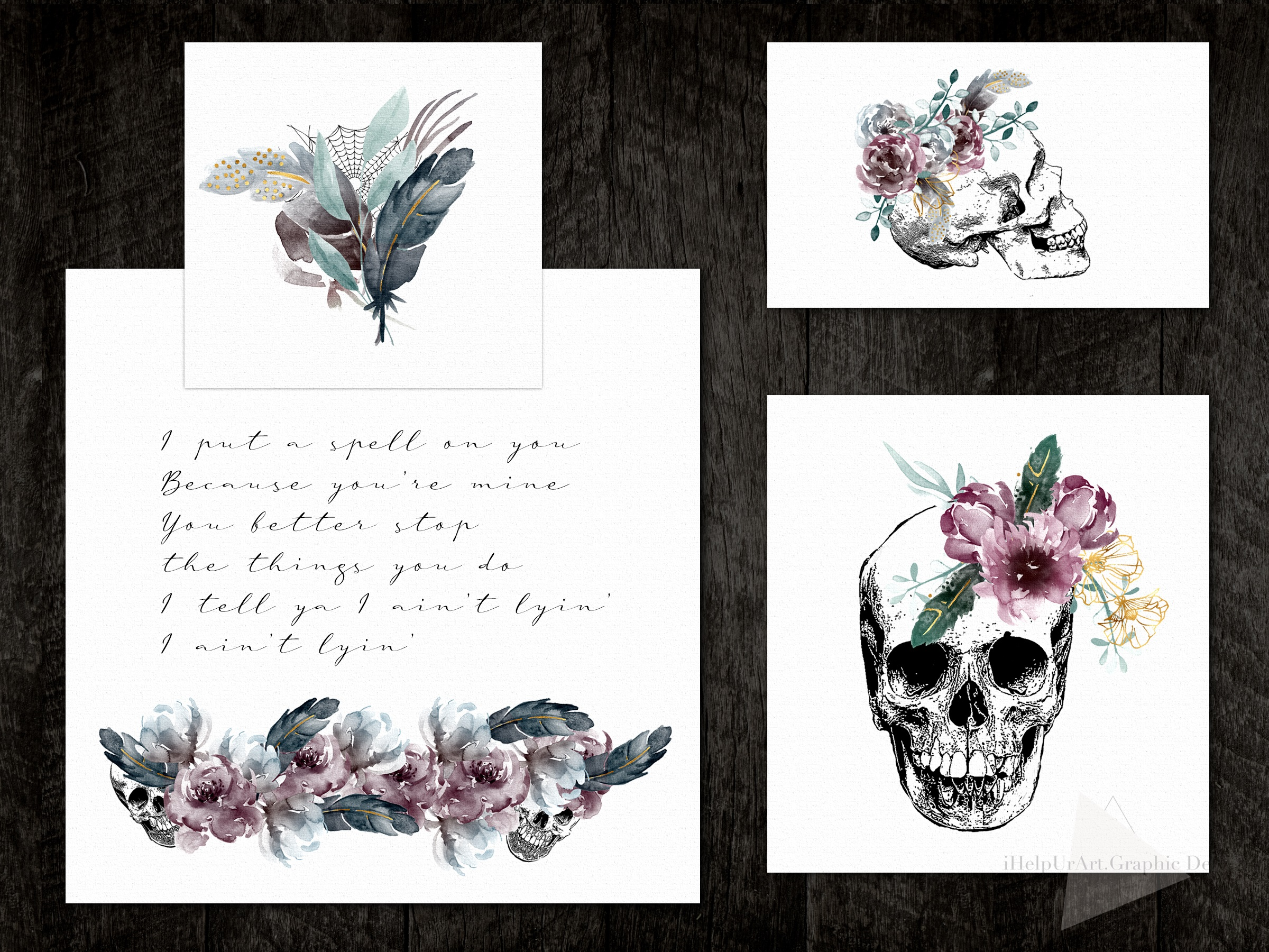 Halloween Design Bundle - Skulls and Flowers Clipart example image 2