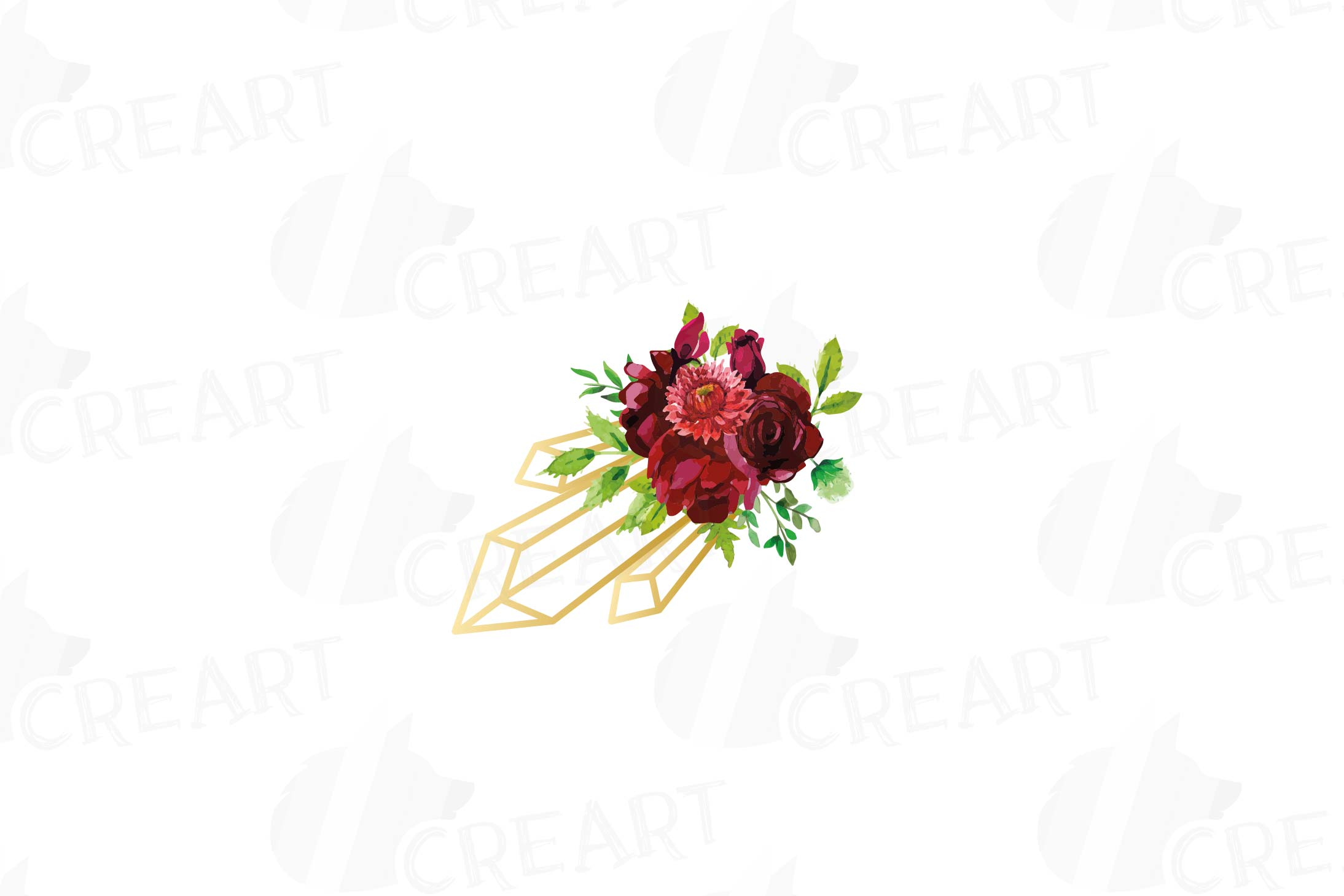 Watercolor Burgundy Floral Geometric Frame Geometric Invite