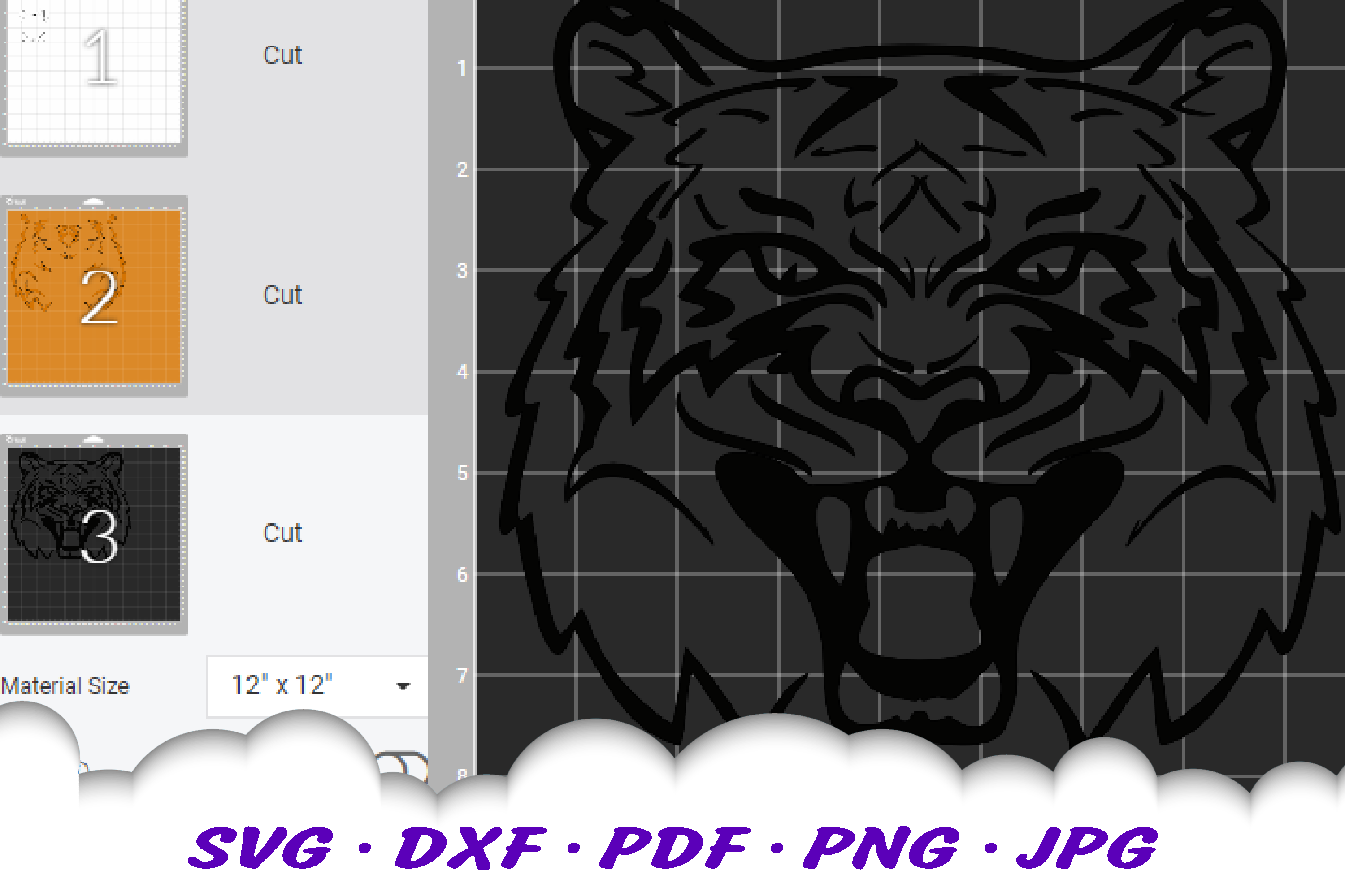 Tiger Mascot Sports Team SVG DXF Cut Files example image 2