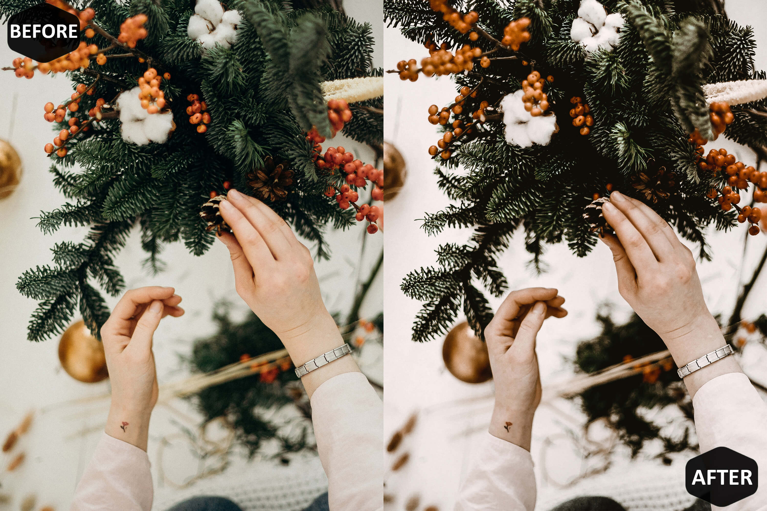 Christmas Joy Photoshop Actions And ACR Presets, brown Xmas example image 7