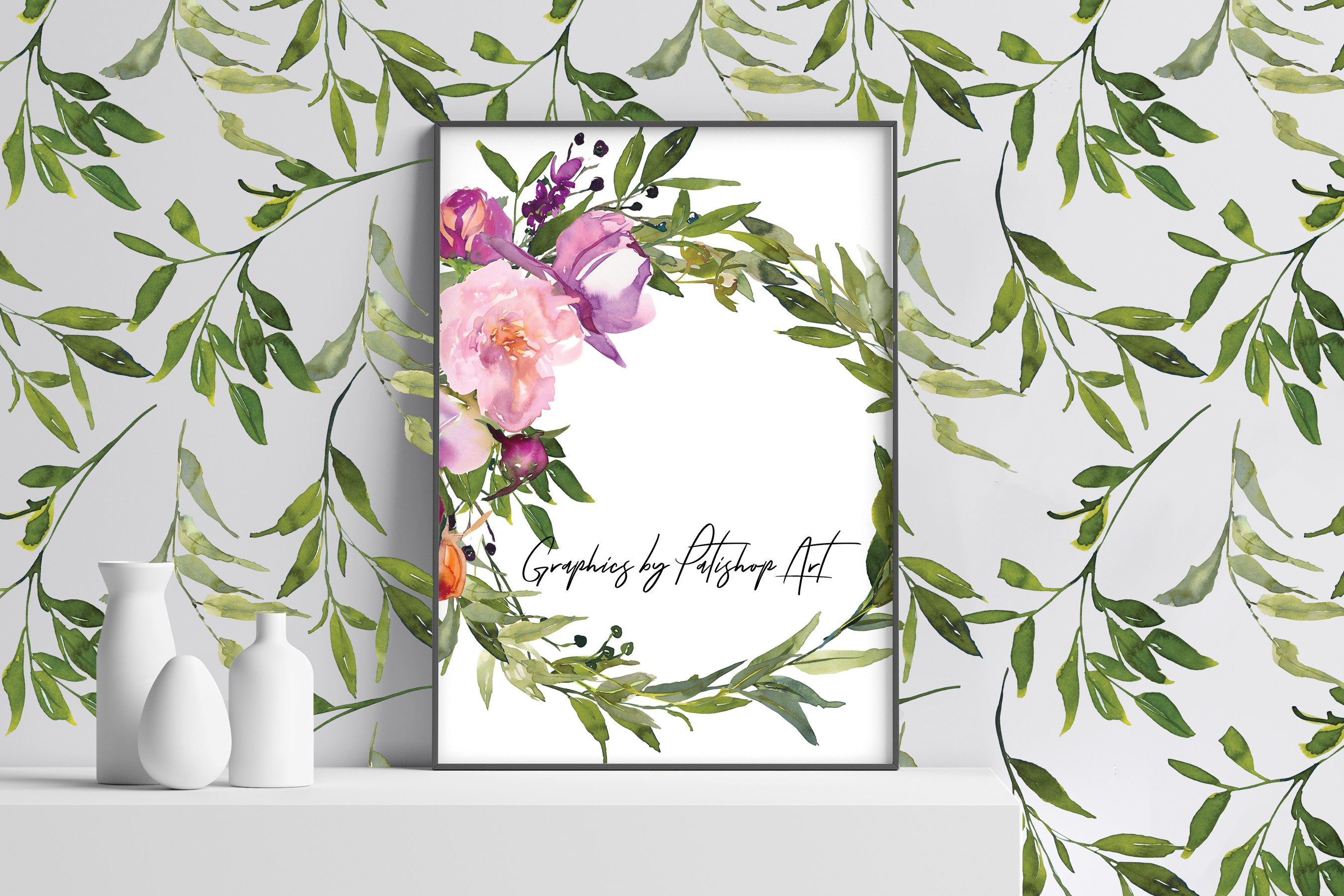 Watercolor Pink Peony Wreath Set example image 8