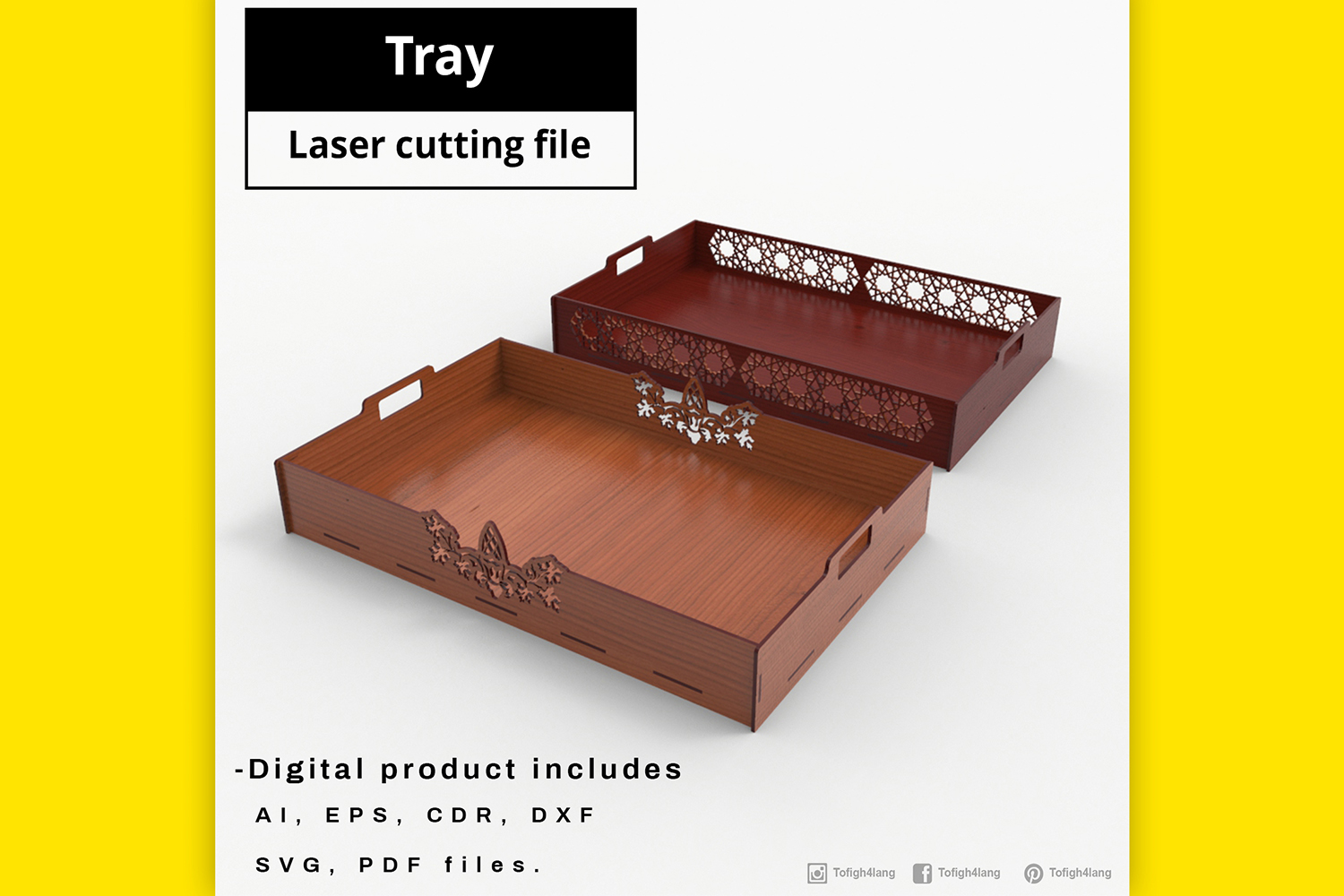 Tray - laser cut file example image 1