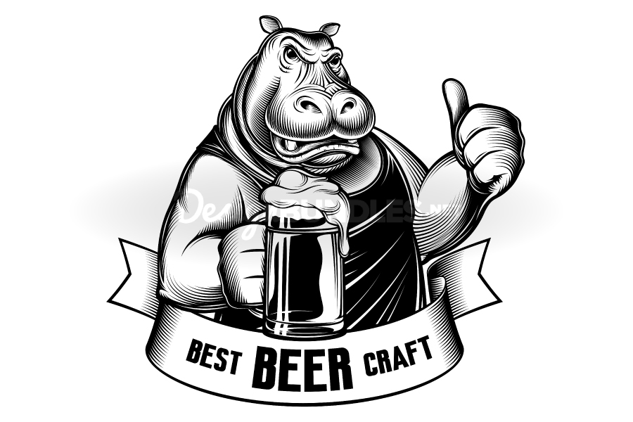 Hippopotamus Beer Glass Craft Behemoth Thumb Emblem Engraved example image 1