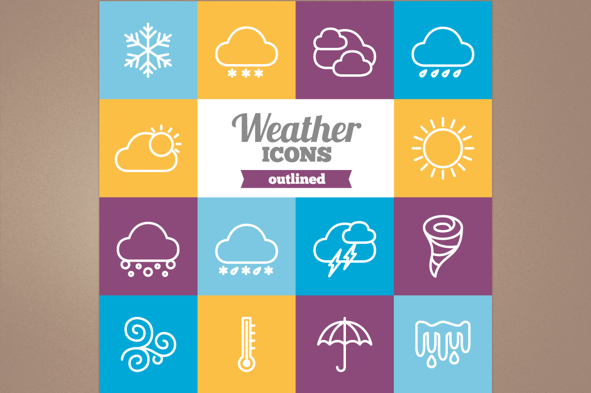 Outlined Weather Icons example image 1