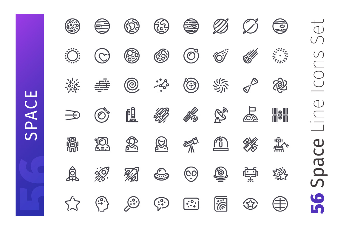 Space Line Icons Set example image 2