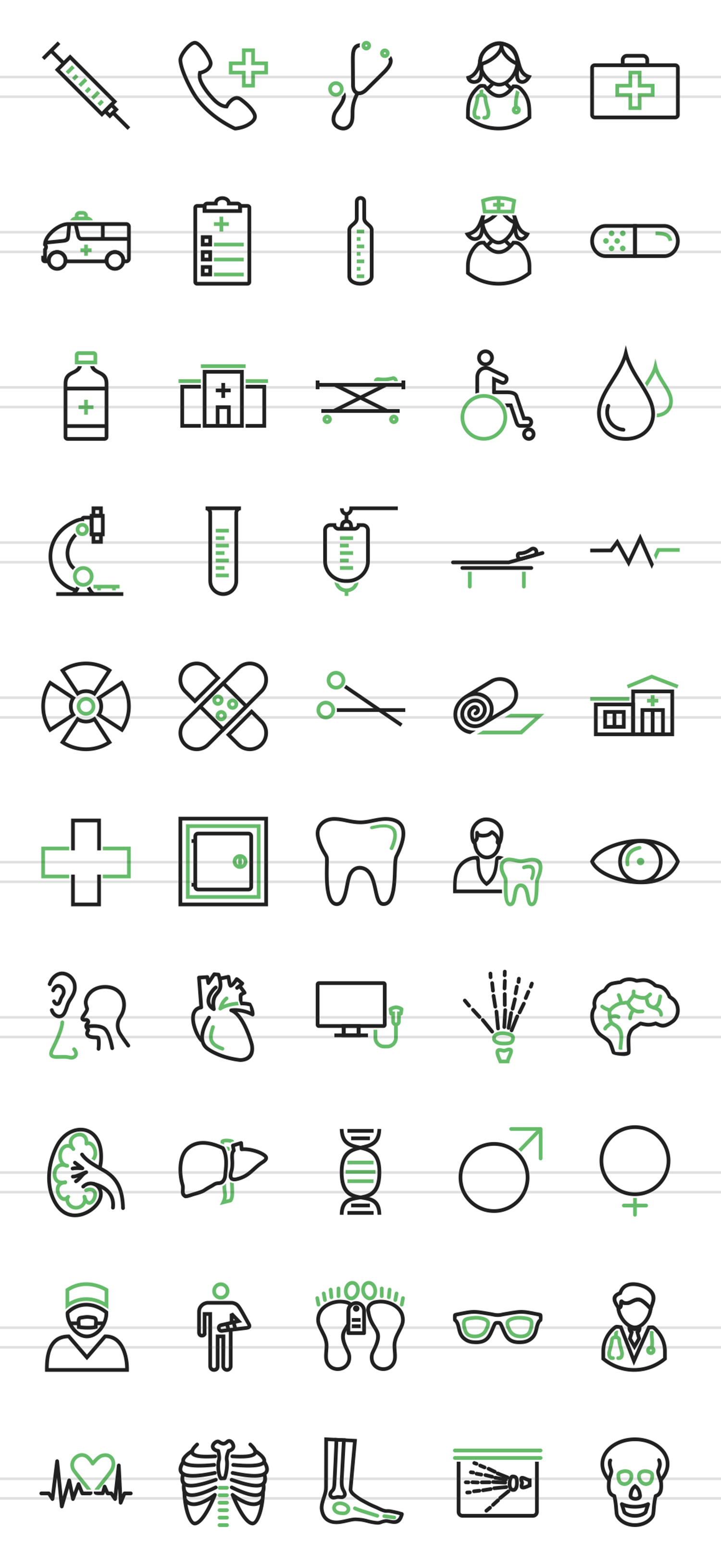 50 Medical Line Green & Black Icons example image 2