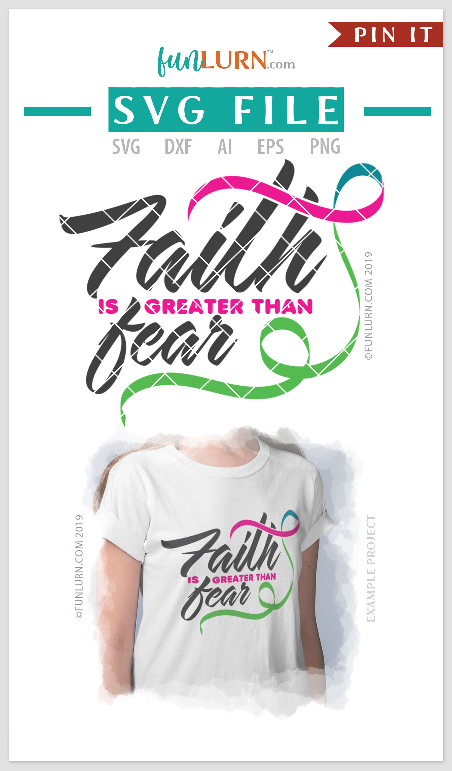 Faith is Greater Than Fear Pink Teal Green Ribbon SVG example image 4