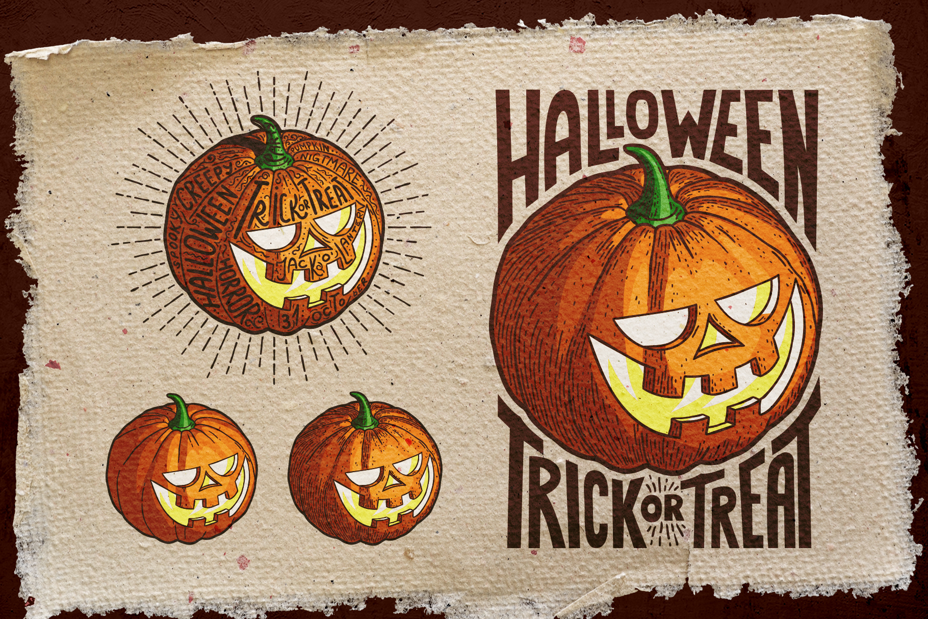Halloween Pumpkin Engraving Style example image 4