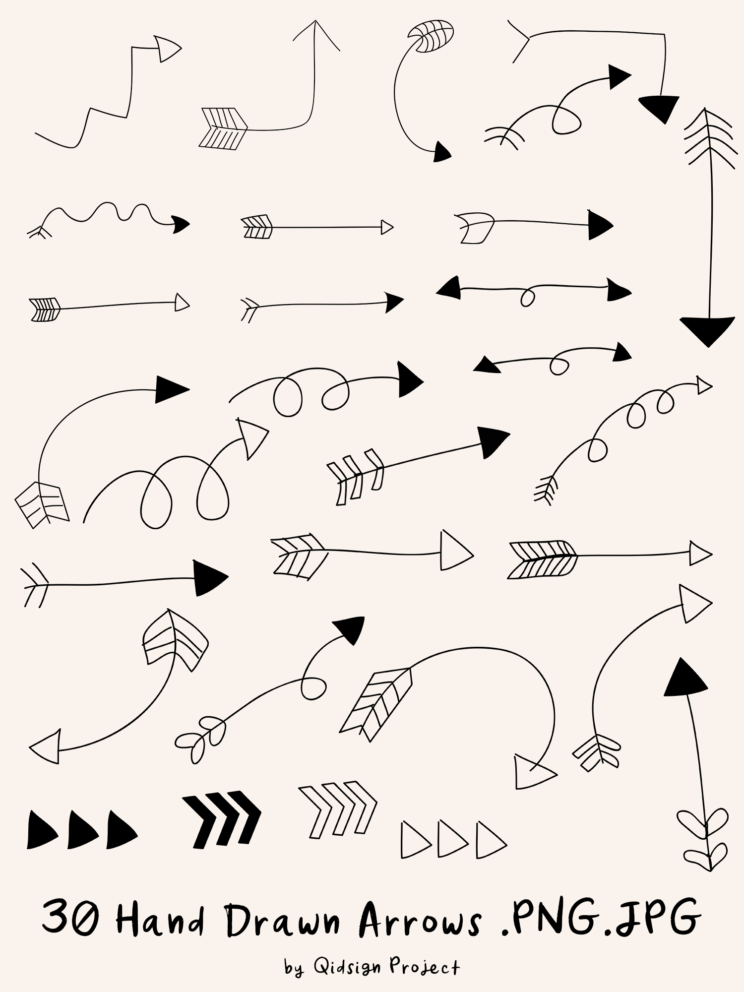 Hand Drawn Arrows Clipart .PNG .JPG example image 2