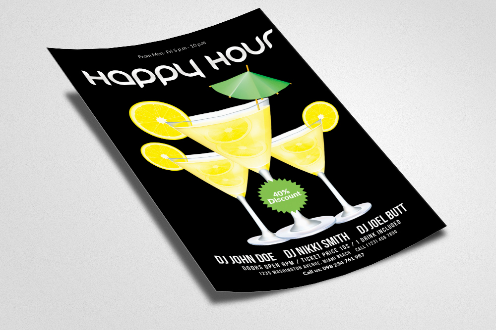 Happy Hour Flyer Template 06 example image 2