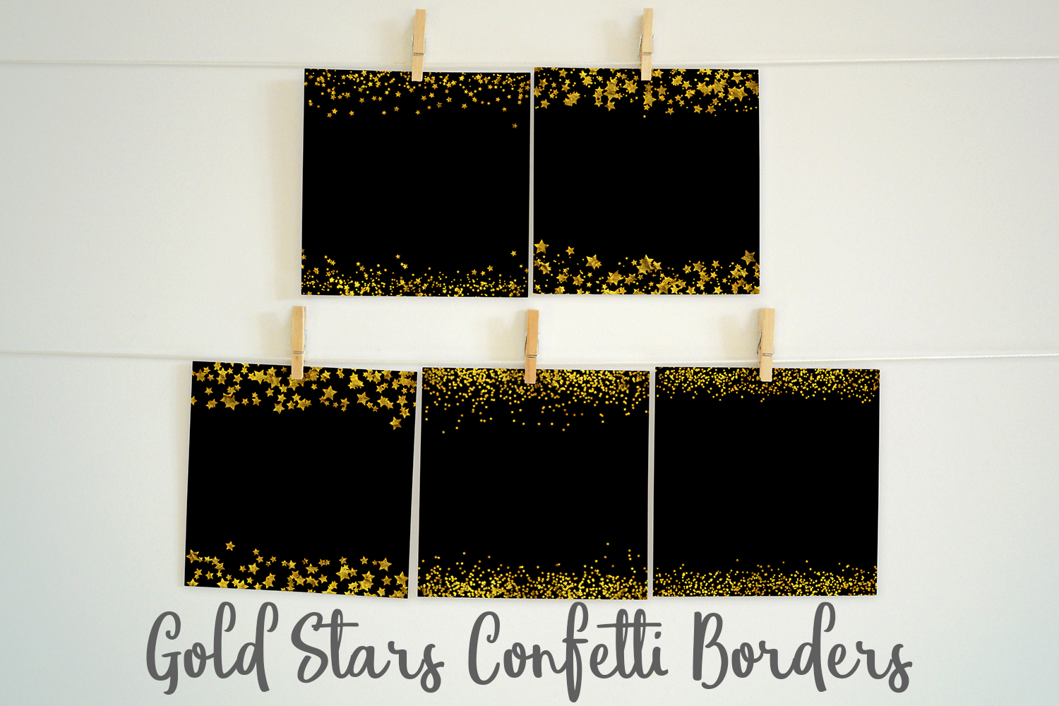 Gold Stars Confetti Borders Pack example image 3