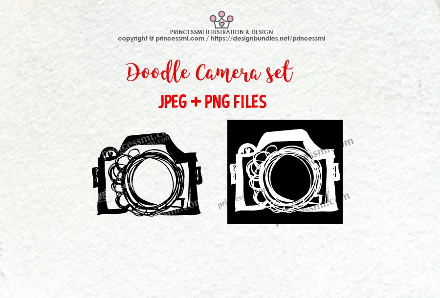 doodle camera clipart set 1 , black and white verion example image 2