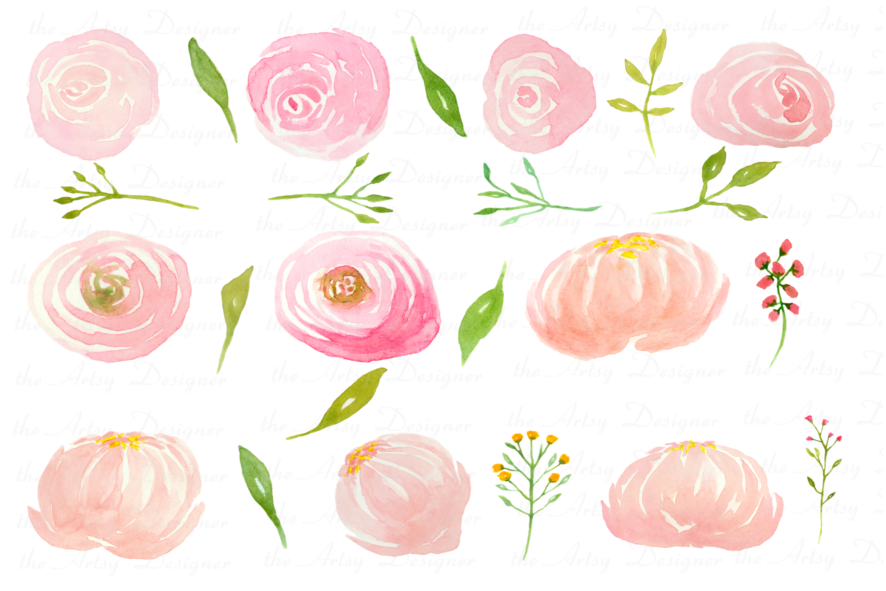 Watercolor Blush Pink Flowers Clipart Bundle Peonies Rose example image 3