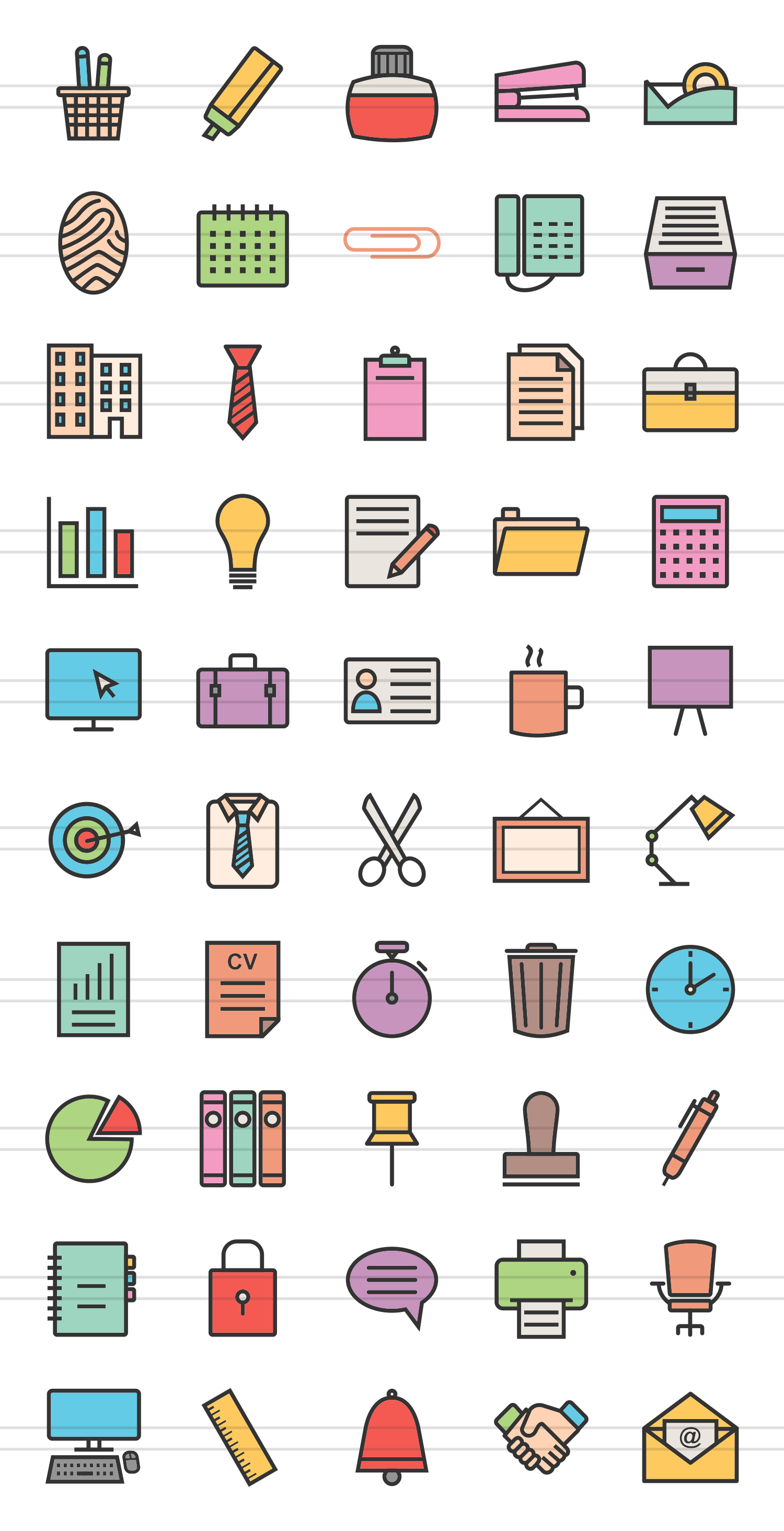 50 Office Linear Multicolor Icons example image 2
