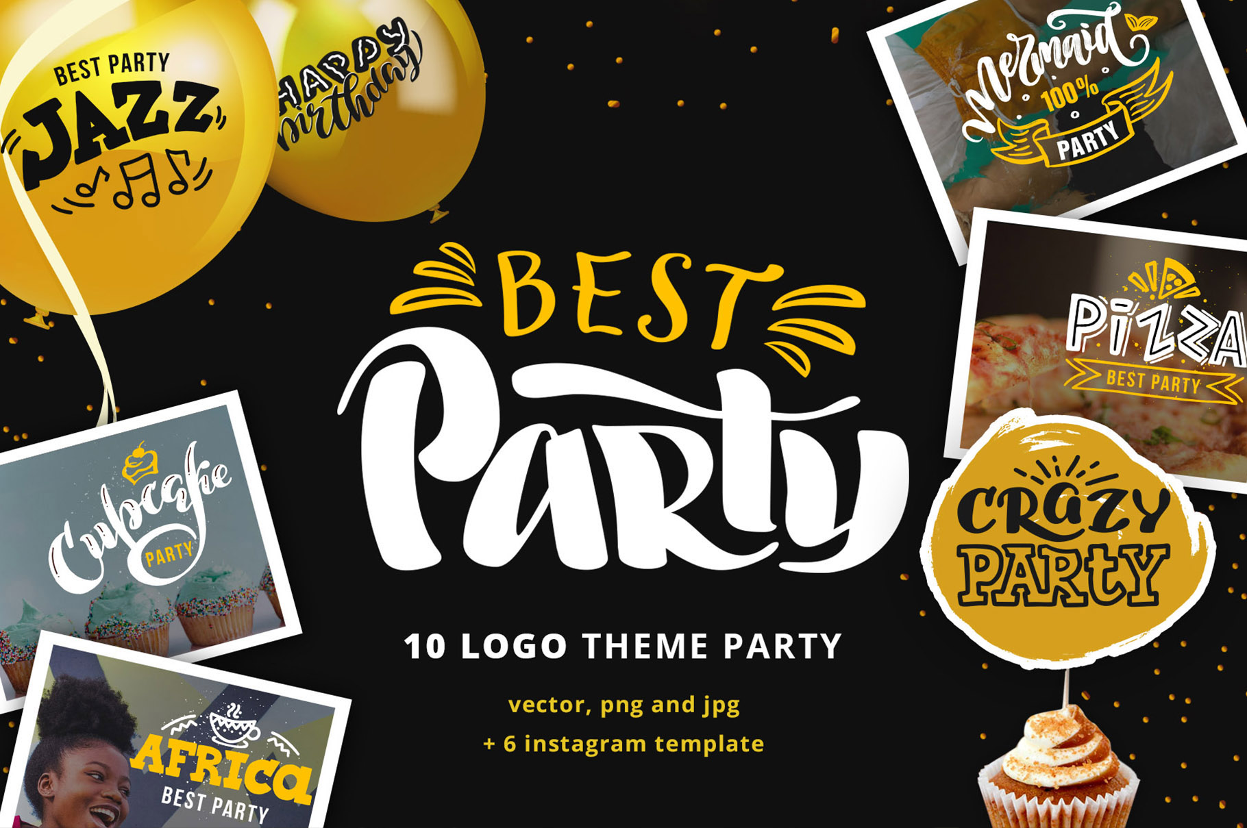 Party lettering, logos set example image 1