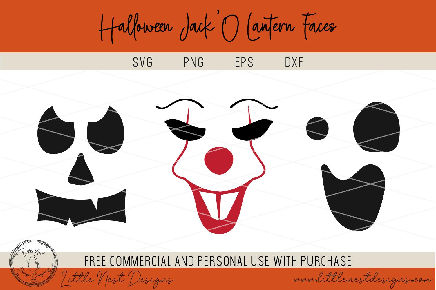 Halloween Jack O Lantern Faces - Pumpkin Faces - SVG Pumpkin example image 4