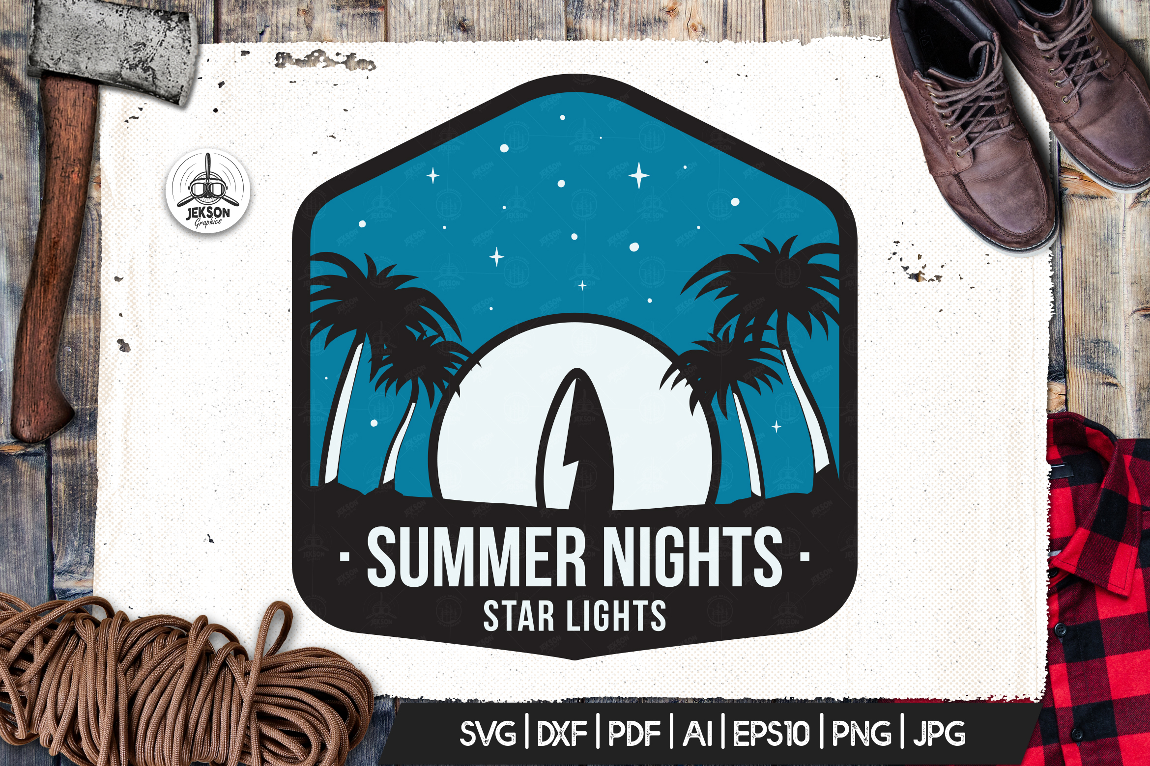 Surfing Vector Logo, Summer Retro Adventure Retro SVG File example image 1