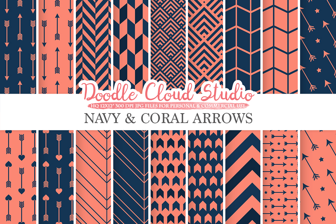 Navy and Coral Arrows digital paper, Arrow patterns, tribal, archery, chevron triangles Dark Blue backgrounds for Personal & Commercial Use example image 1