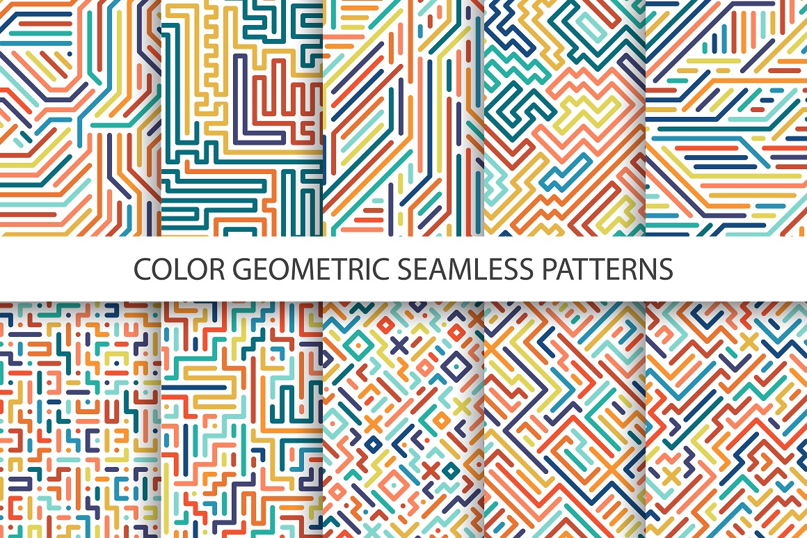 Colorful geometric striped patterns. example image 1
