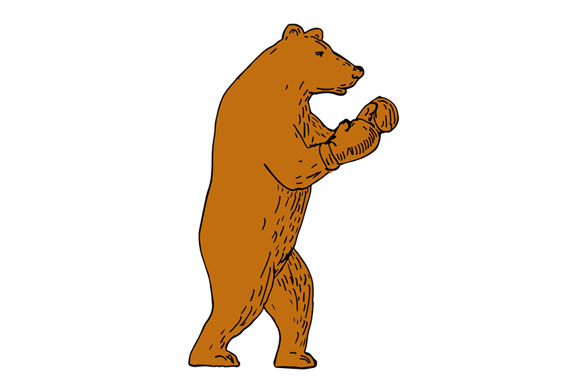 Brown Bear Boxing Stance Drawing example image 1