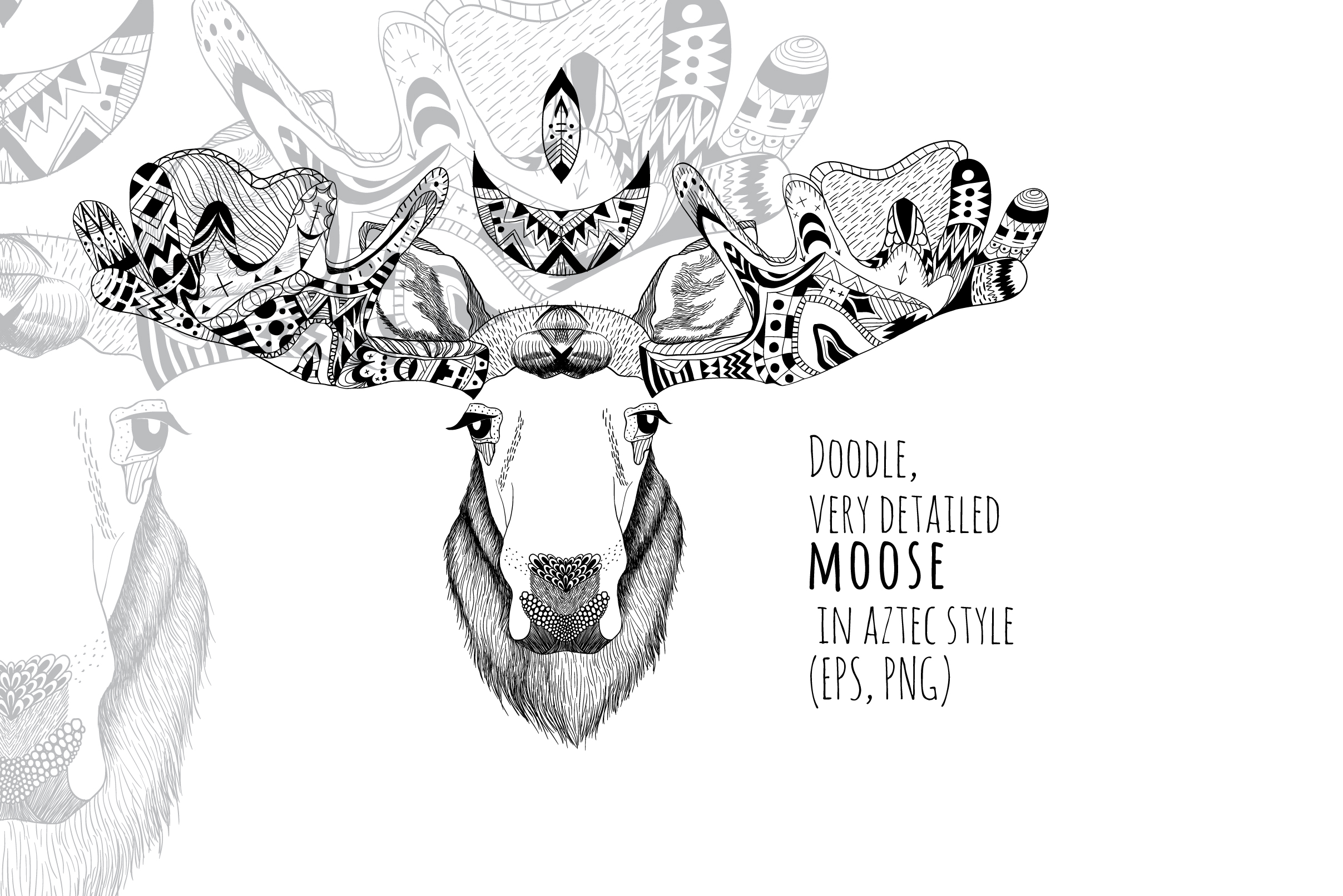 Textured moose in aztec style example image 1