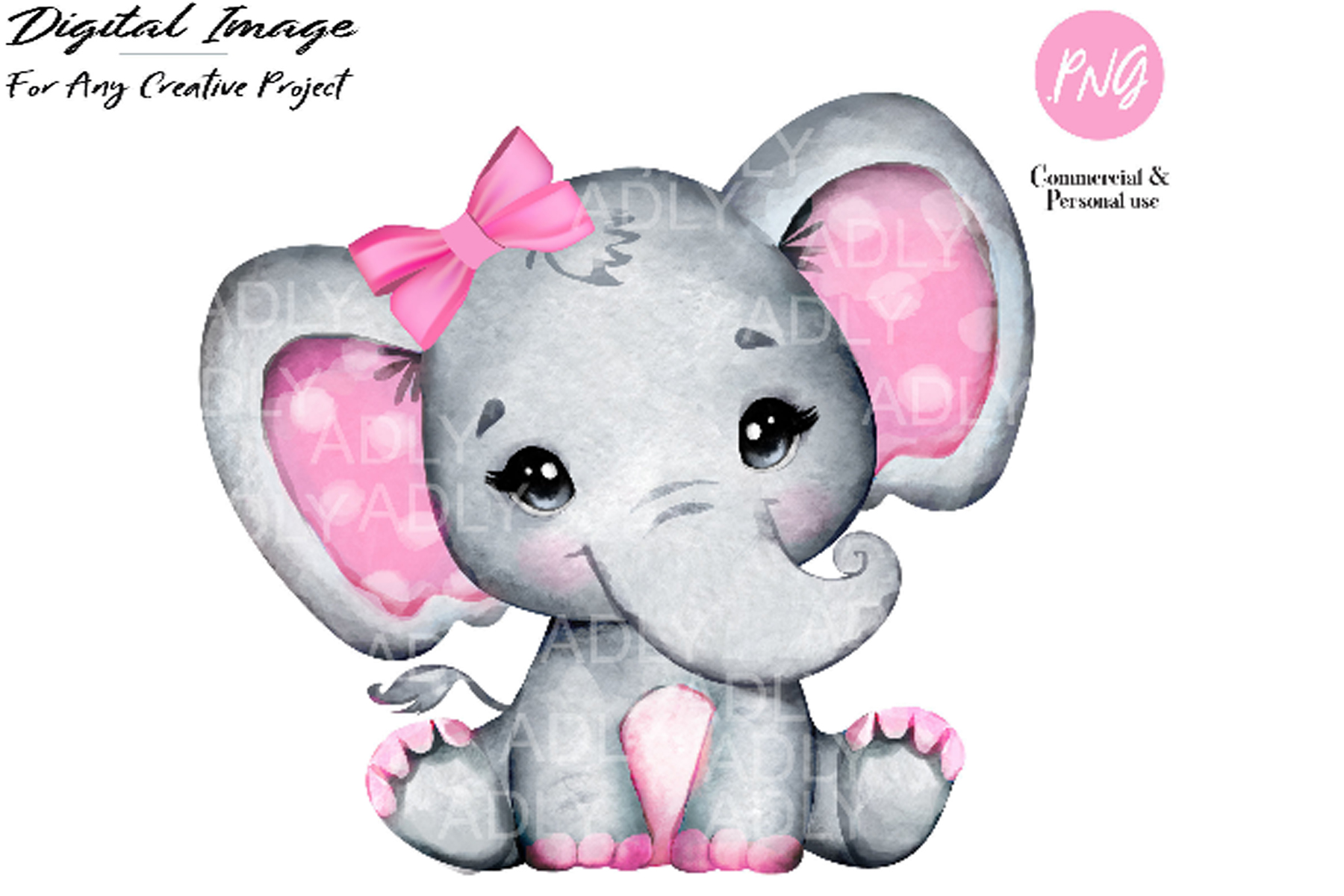 Watercolor girl elephant clip art, very cute little peanut