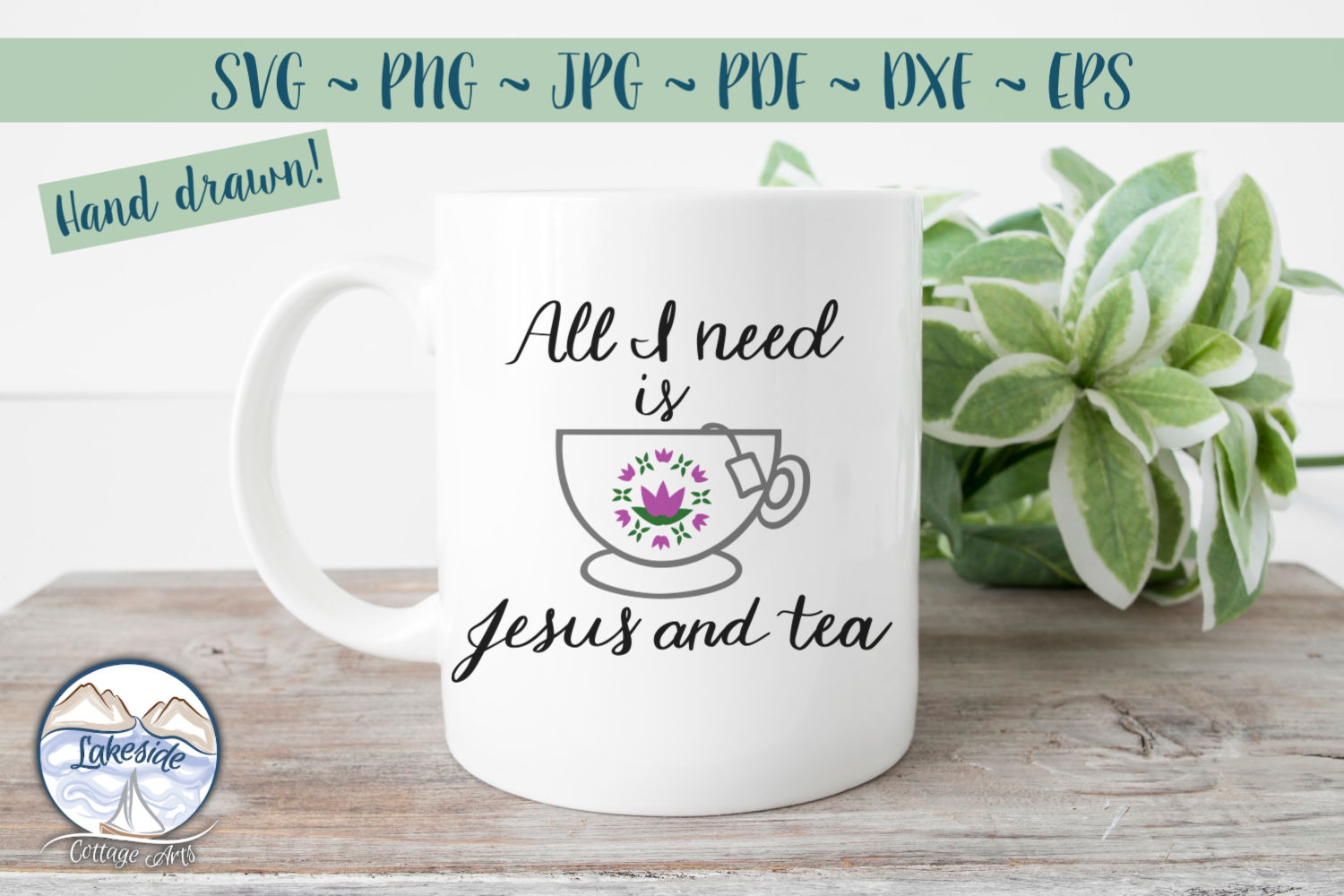 All I Need is Jesus and Tea- Religion svg dxf example image 2