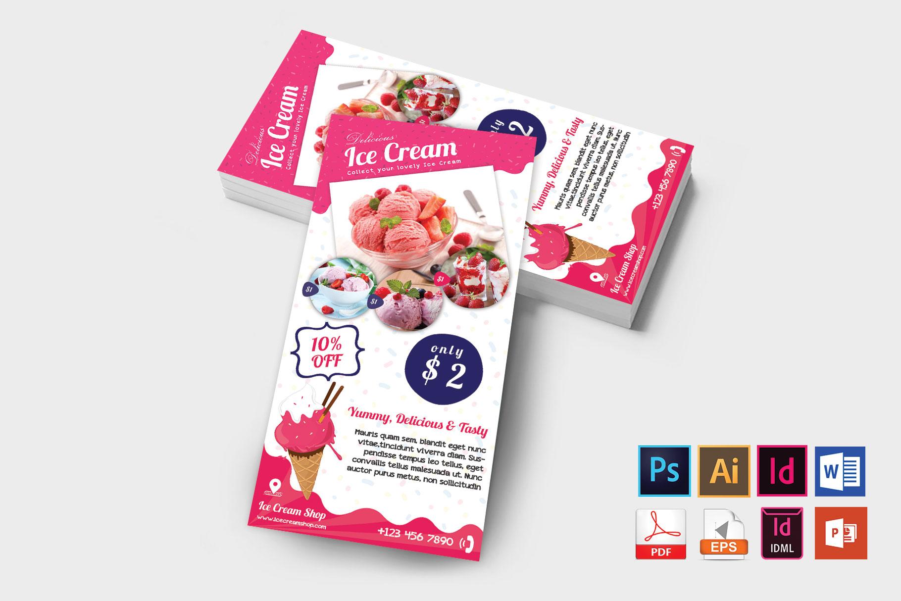 Rack Card | Ice Cream Shop DL Flyer Vol-01 example image 2