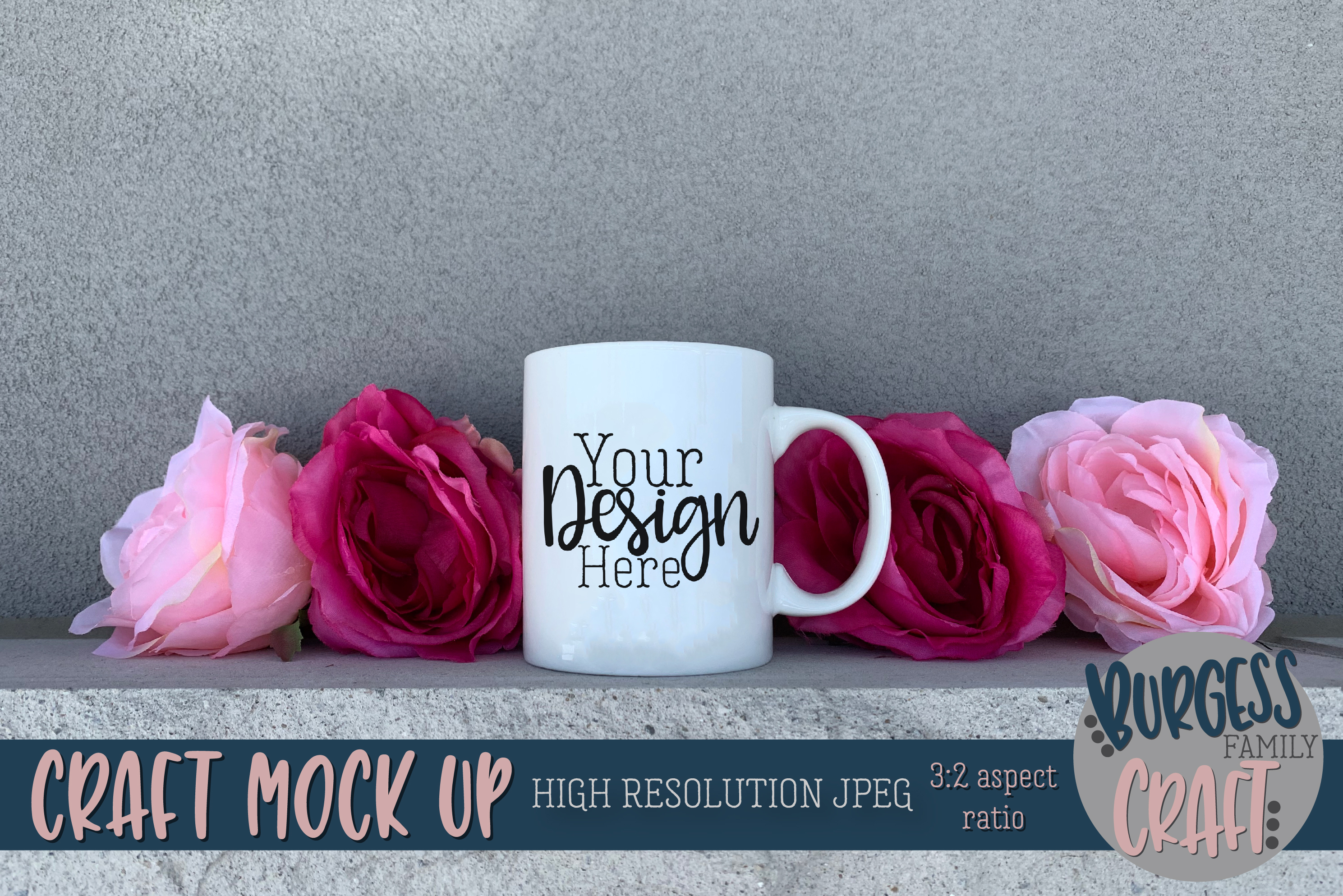 Pink flower mug coffee Craft mock up|High Res JPEG example image 1