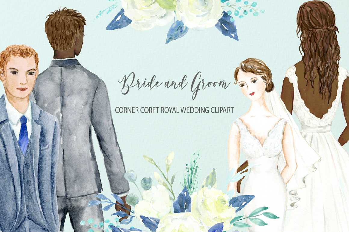 Bride and Groom Figurine Royal Wedding Clipart example image 3