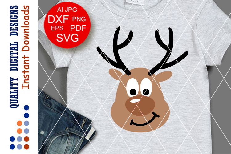 Deer svg Cute Christmas Deer Antlers clipart Holiday decor example image 1