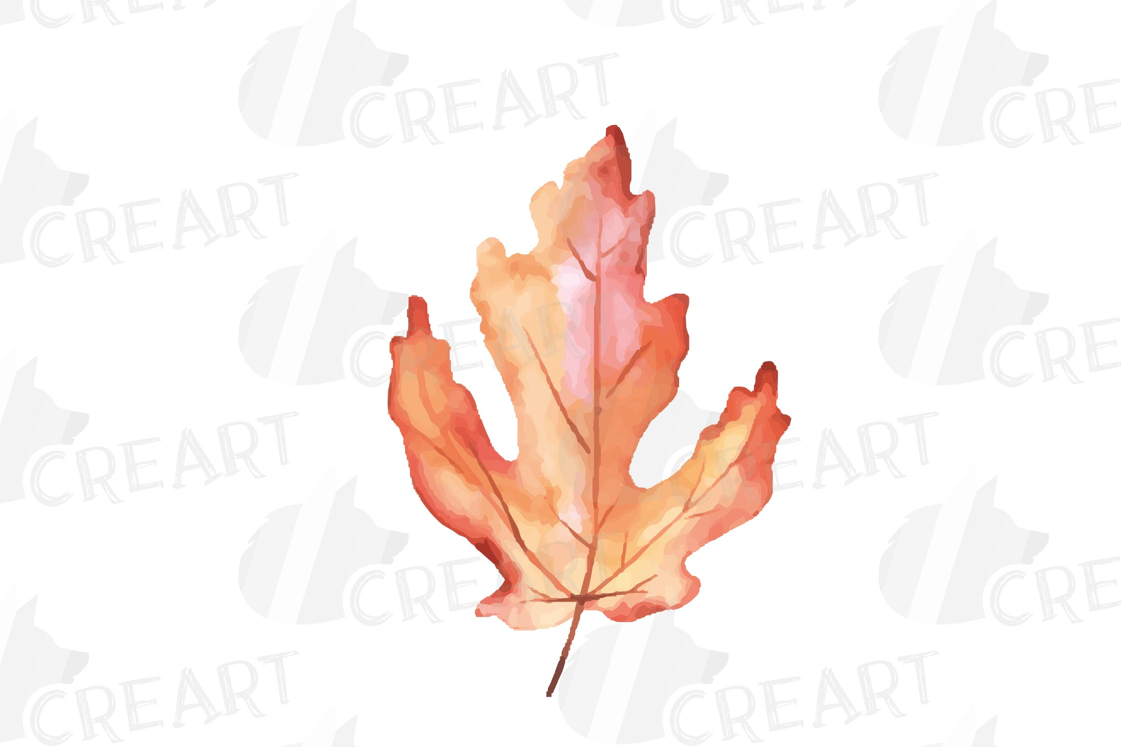Printable autumn leaves watercolor decoration clip art pack. example image 7