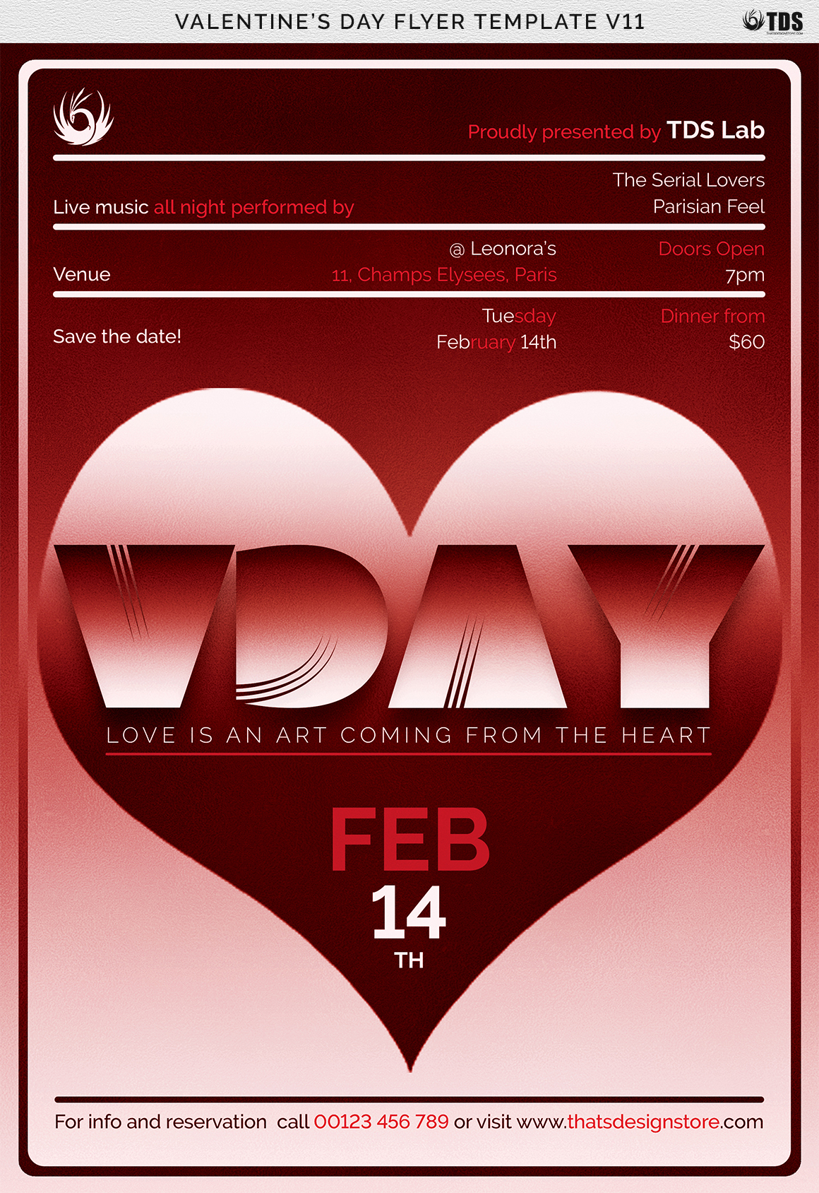 Valentines Day Flyer Template V11 example image 9