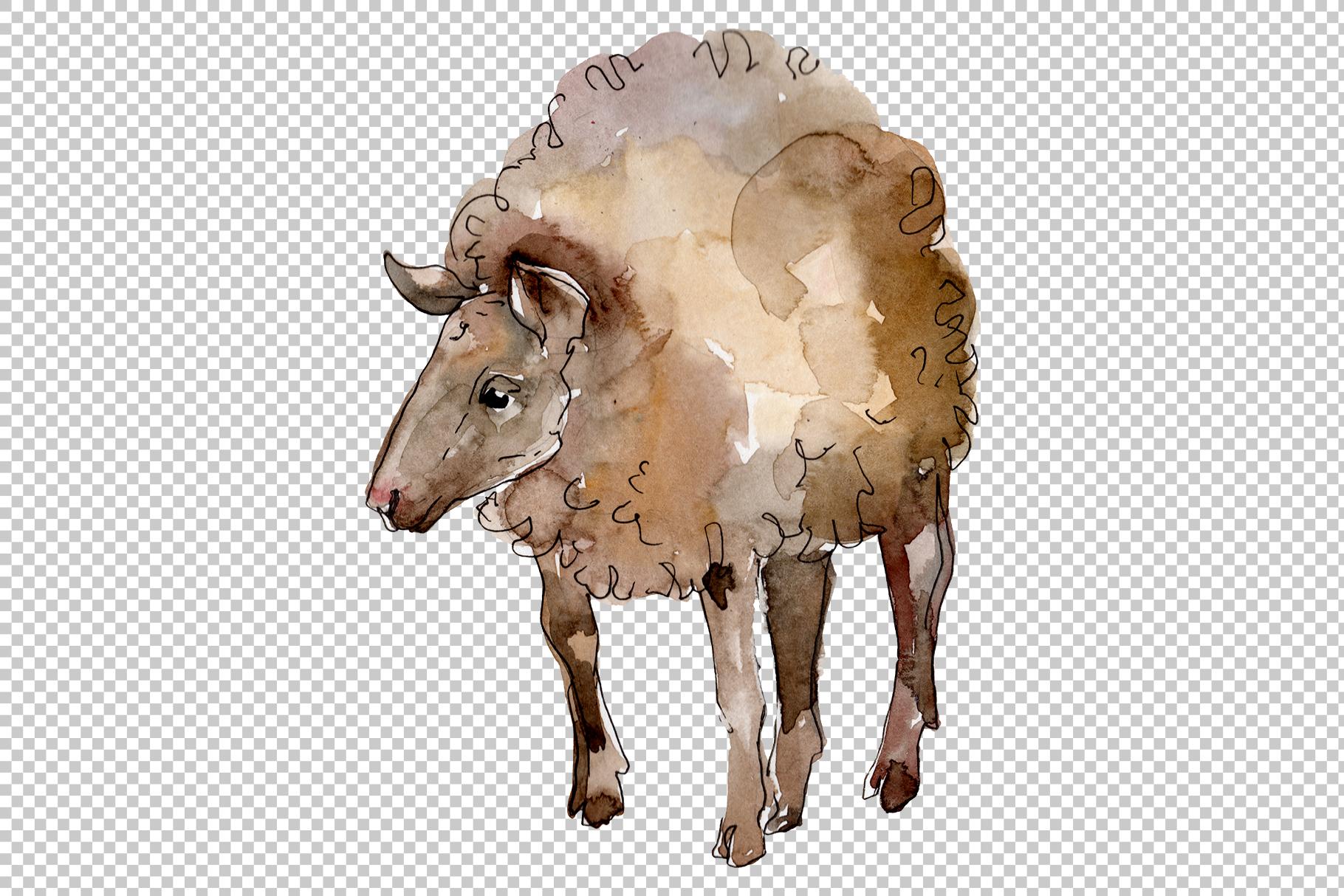 Farm animals lamb Watercolor png example image 2