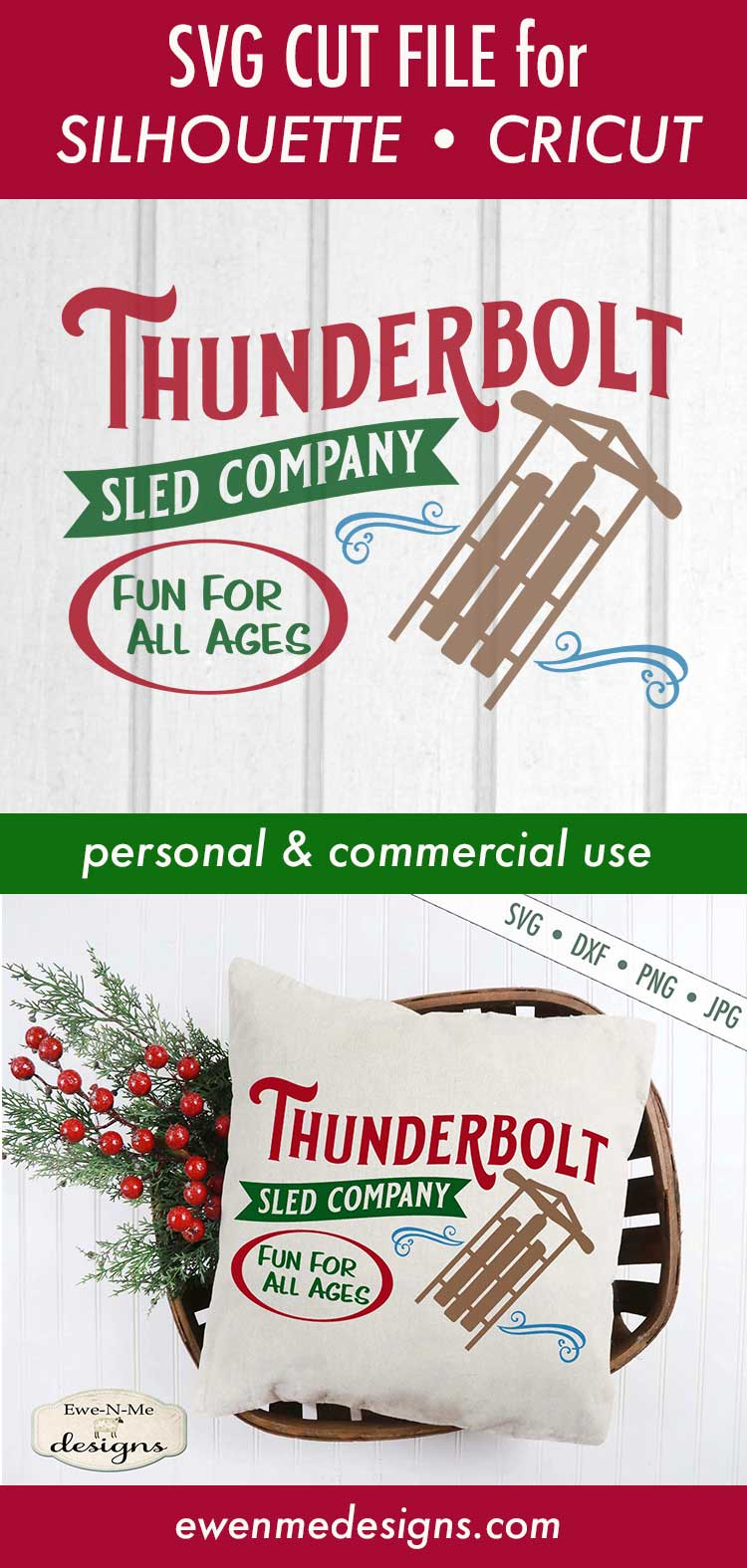 Thunderbolt Sled Co - Christmas - Winter - SVG DXF Files example image 3