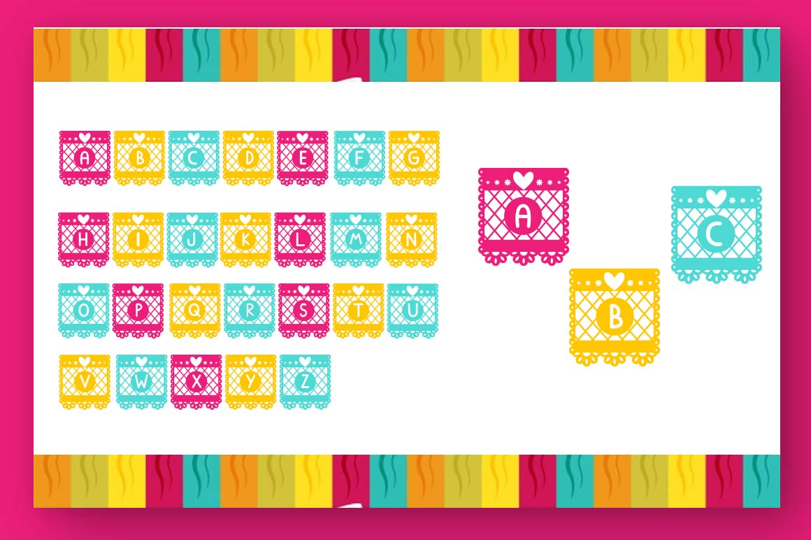Papercut blocks font a mexican party banner example image 2