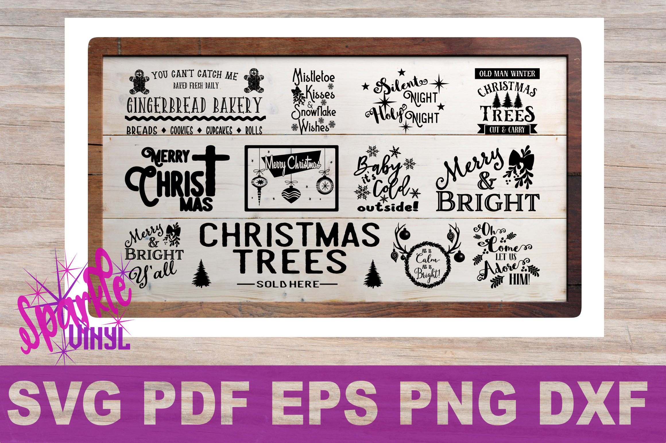 Svg Christmas Sign Stencil Bundle printable svg dxf png pdf esp files for cricut or silhouette Merry Christmas Trees Sold here Mistletoe svg example image 1