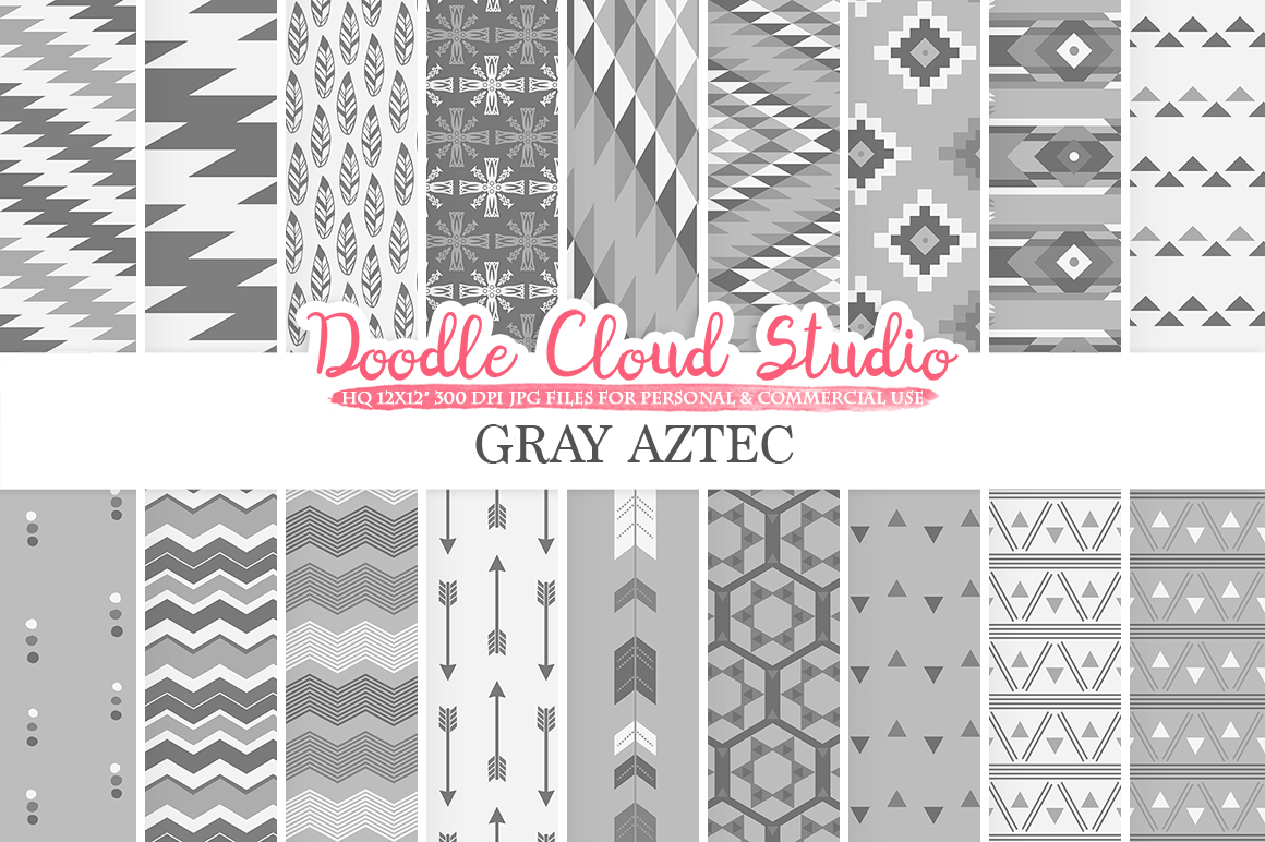 Gray Aztec digital paper Tribal patterns native triangles geometric ethnic arrows background Instant Download for Personal & Commercial Use example image 1